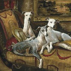 Elegance - Whippet original oil, painting by artist Anne Zoutsos Illustrations, Illustration Art, Greyhound Kunst, Kitsch, Dog Artist, Dog Artwork, Lurcher, Grey Hound Dog, Vintage Dog