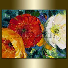 Modern Flower Canvas Oil Painting Poppy Poppies Textured Palette Knife Original  Floral Art 12X16 by Willson Lau