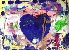 Sloppy Heart No 6 Neglected Blue Heart by josephhkyle on Etsy, $15.00