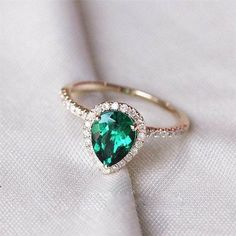 Pear Emerald Engagement Ring Halo Engagement by OliveAvenueJewelry
