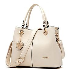 Bagtopia Womens Fashion Leather Tophandle Handbags OL Casual Tote Crossbody Shoulder Bag Satchel PurseBeige *** Read more  at the image link.
