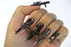 If you're looking to flash some supped-up nails, look no further than this intimidating example of gun nail decals. This fist full of gun-toting decals recently appeared on the cover of the London-based magazine 'SuperSuper!'. This extreme fashion statement will be coveted by every wannabe bad girl around.
