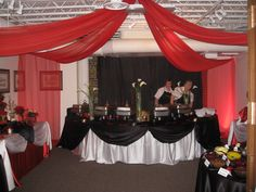 catering room red/black/white