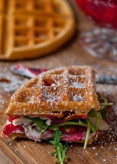 Waffled Cranberry Cream Cheese Turkey Sandwiches - (Free Recipe below) Savory Waffles, Breakfast Waffles, Breakfast Recipes, Pancakes, Breakfast Sandwiches, Waffle Sandwich, Sandwich Recipes, Turkey Sandwiches, Panini Sandwiches