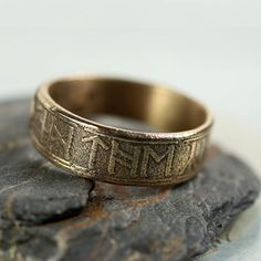Hey, I found this really awesome Etsy listing at https://www.etsy.com/listing/211812786/golden-bronze-band-ring-rustic-viking