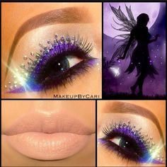 Fairy inspired purple eye shadow enhanced with sparkling gems and a pretty nude lip by 'Makeup by Cari'.