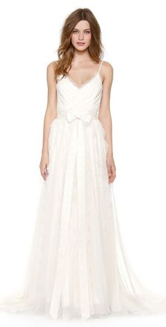 Marchesa Scallop Lace Gown with Bow Detail | SHOPBOP