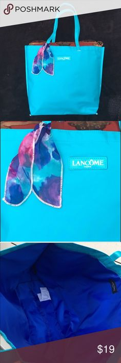 """🆕💠NEW💠Lancôme Polyvinyl Large Tote Bag⛱ 🆕💠NEW💠Lancôme Polyvinyl Large Tote Bag. 12""""L x 17""""W x 5""""D. Beautiful Blue w/Floral Scarf Tie Add-On. So Cute! 🚫Trade 🚫Pillow Not Included...Lol Sephora Makeup"""
