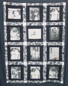 This beautiful wedding themed quilt was created with black and white photos with color emphisis on the roses.