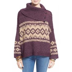 Free People Fair Isle Split Neck Sweater (380 VEF) ❤ liked on Polyvore featuring tops, sweaters, free people tops, slouchy sweater, purple turtleneck, turtle neck sweater and chunky sweater
