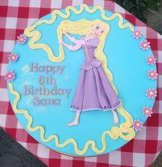 "Handmade  hand painted. ""Tangled"" cake Happy 6th Birthday, Birthday Cake, Hand Painted Cakes, Tangled, Cupcake Cakes, Lady, Desserts, Handmade, House"