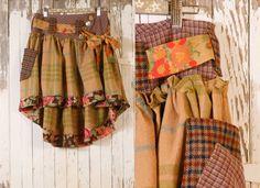 Woman skirt winter Patchwork skirt Plaid skirt Tartan skirt woman Gypsy skirt Bohemian skirt Pixie skirt Mid length skirt Woman Green skirt. $148.00, via Etsy.