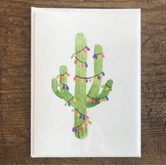 This is how you decorate in the desert! Excited to share the latest addition to my #etsy shop: Christmas Cactus http://etsy.me/2jcgHvZ #papergoods #green #christmas #pink #watercolor #festive #holiday #card #stationery