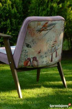 Odnowiony fotel z PRL Chierowski w pastelowe Fotele i pufy Poznań