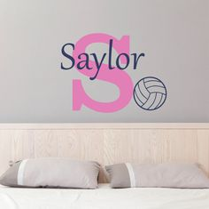 volleyball name wall decal sports nursery decal girls bedroom decal personalized teen wall decor football monogram vinyl lettering - Volleyball Bedroom Decor