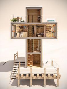 Base estrutural em madeira para diferentes níveis verticais.