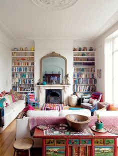 fireplace and bookshelves?