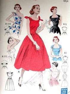 Butterick Dress Pattern No 6439 Vintage 1950s by CaliforniaSunset 3ad56ec4b9fe