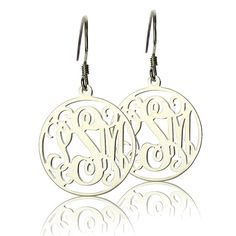 Love!! Etsy listing at https://www.etsy.com/listing/162331176/925-sterling-silver-monogram-earrings