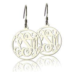 Love!! Etsy listing at https://www.etsy.com/listing/162331176/925-sterling-silver-monogram-earrings