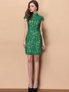 Green Floral Lace Qipao / Cheongsam Dress
