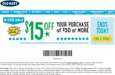 Pinned July 20th: $15 off $50 today at Old Navy coupon via The Coupons App