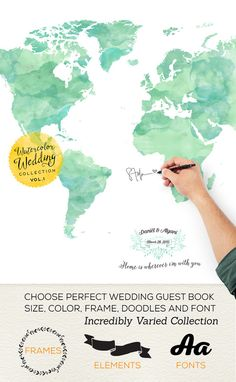 Custom Wedding Guest Book, Personalized World Map Guestbook, Made wedding Guest Book Gift Idea, Bride and Groom