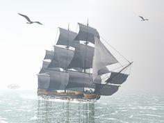 Beautiful detailed old merchant ship next to seagulls by foggy morning light Foggy Morning, Morning Light, Boat Art, Titanic, Sailing Ships, Fine Art America, Digital Art, Stock Photos, Prints