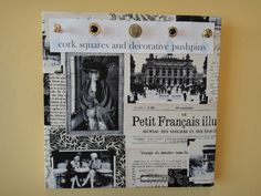 A cork square with decorative pushpins with a Paris theme. Hang jewelry, place memos or photos!