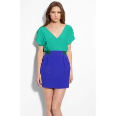Myne color block silk dress This never worn (no tag) Myne color block silk dress has a deep v in the front that transforms to a lower v in the back. The waist is partially elasticize and gives definition to the shape. Shallow side pockets on both sides. Blue/teal combo. Myne Dresses Mini