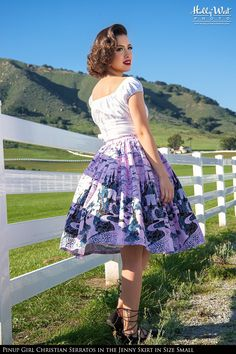 Sixties Style Full Swing Skirt in Pink Castle Print Cotton Sateen   Pinup Girl Clothing