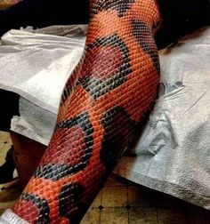 Amazing Snake Skin Tattoo