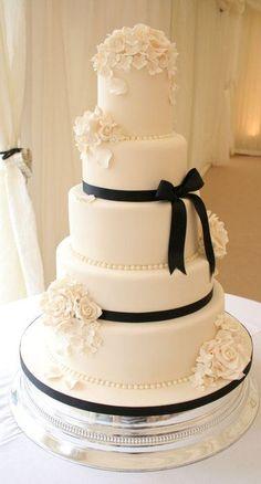 Formal White Wedding Cake with Black Sugar Bow