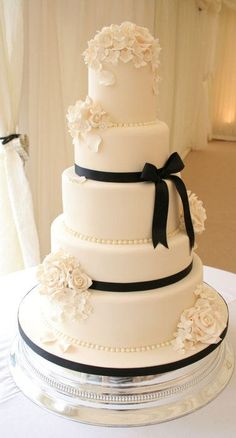 Formal White Wedding Cake with Black Sugar Bow