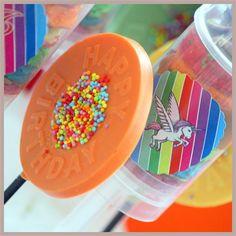 chocolate lollypops, rainbow pushcakes