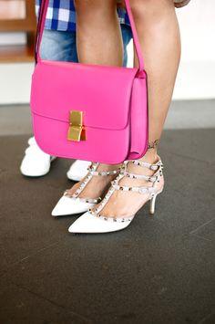 Celine Box Bag --- Valentino Rockstud Shoes
