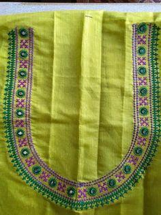 Handmade Embroidery Designs, Embroidery Neck Designs, Hand Embroidery Dress, Embroidery On Clothes, Neckline Designs, Blouse Designs, Mirror Work Blouse Design, Kutch Work Designs, Churidar Neck Designs