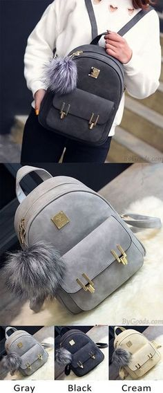 Which color do you like? Fashion Frosted PU Zippered Backpack With Metal Lock Match School Bag Backpack #fashion #lock #match #school #Bag #frosted #backpack #cute
