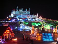 The illuminated ice sculptures of the Harbin Ice Festival, China.