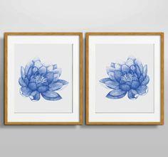 Azul marino loto Set de 2 flores impresión del arte pintura