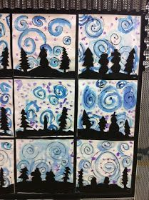 Apex Elementary Art: Winter Scenes by Mrs. Evenhouss's Class use to make Northeren lights