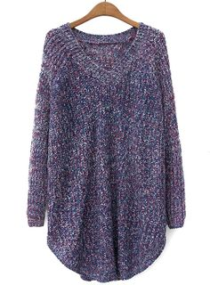 Purple V Neck Long Sleeve Loose Knit Sweater US$36.07