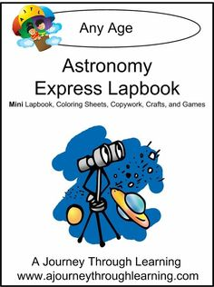 """<font size=3 font color=blue>As a busy parent, do you not have the time or desire to do a big lapbook project? We've got you covered! This Astronomy Express lapbook is an """"Express Lapbook,"""" which means it is ONE FOLDER and can be done in one to two days. Not only do you get a lapbook with templates, we also include extras- study guide page, coloring pages, craft ideas, and games! Requires 1 folder.  33 pages</font>"""