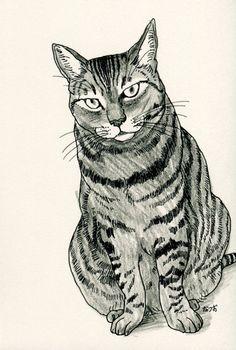 Cat original drawing  P005November2015 by kushun55 on Etsy