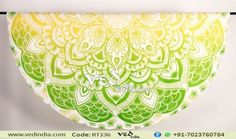 Green and Yellow Ombre Indian Mandala Round Beach Towel Tapestry Hippie Gypsy Bohemian Beach Sheet
