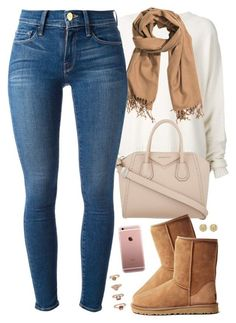 """fall mood"" by daisym0nste ❤ liked on Polyvore featuring moda, URBAN ZEN, H&M, Givenchy, UGG Australia, Frame Denim, Michael Kors y Forever 21"