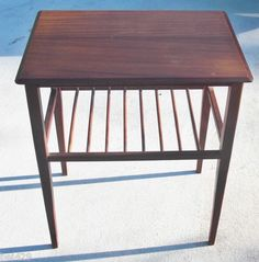 #END TABLE WITH MAGAZINE RACK  $139.95 Mid Century Danish Modern