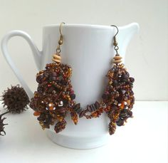 Brown beaded earrings, bohemian, gypsy by Cesart64