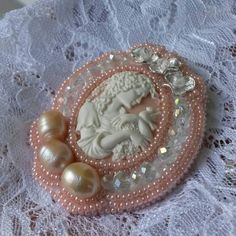 Handmade brooch with cameo Embroidered brooch by ALMITAhandmade