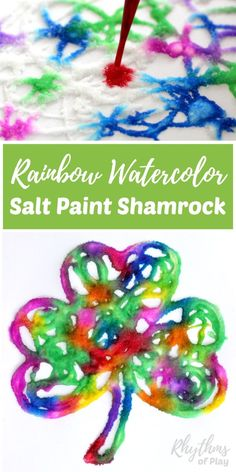 Easy Saint Patrick's Day art craft for kids! Making a rainbow watercolor raised salt paint shamrock is an easy art project for kids. Preschoolers, kindergartners, and elementary kids will enjoy the painting technique used to create this fun St. Patrick's Day craft. Try it today! via @rhythmsofplay